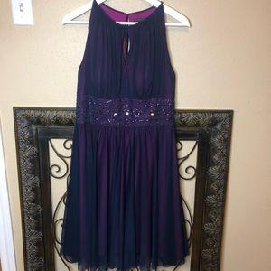 Jessica Howard purple sheer beaded waist dress